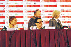 Hauptwettbewerbsjury des internationalen Film-Festivals Moskaus Stockfotos