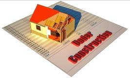 Haus 3D auf dem Finanzprintout im Bau lizenzfreies stockfoto