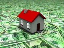 Haus 3D auf einem Land der Rechnungen stock abbildung