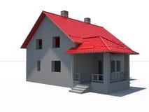 Haus 3d auf Weiß mit rotem Dach Lizenzfreies Stockfoto