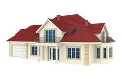 Haus 3d getrennt auf weißem Hintergrund Stockfotos