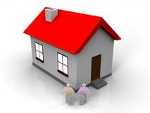 Haus 3D mit einer Familie lizenzfreie abbildung