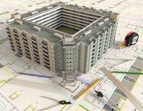 Haus-Architekturzeichnung und Plan Stockbild