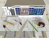Haus-Architekturzeichnung und Plan Lizenzfreies Stockbild