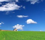 Haus auf dem Grasgebiet lizenzfreie stockfotos