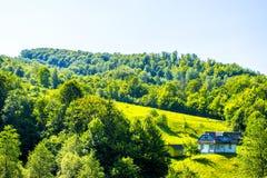 Haus auf dem Rand des Waldes stockfotos