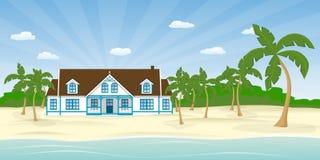 Haus auf dem Strand lizenzfreie abbildung