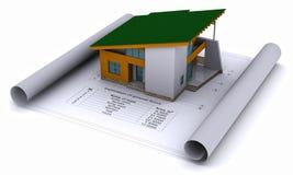 Haus auf den Aufbauzeichnungen Lizenzfreie Stockbilder