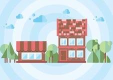 Haus auf einem blauen Hintergrund Lizenzfreie Stockbilder