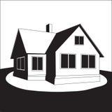 Haus auf einem Hügel. Vektor. Lizenzfreies Stockbild
