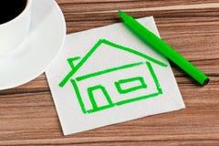 Haus auf einer Serviette Lizenzfreies Stockfoto