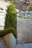 Haus auf Rhodos-Inselstrand Stockbild