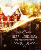 Haus auf Weihnachtshintergrund Lizenzfreie Stockfotografie