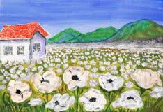 Haus auf Wiese mit den weißen Blumen, malend Stockbild