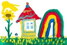 Haus auf Wiese und Regenbogen Childs Zeichnung Lizenzfreies Stockbild