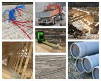Haus-Aufbau-Collage stockbilder