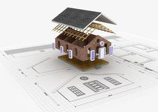 Haus-Aufbau-Konzept Stockfoto