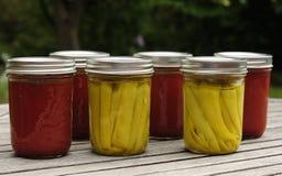 Haus in Büchsen konservierte Tomatensauce und in Essig eingelegte Pfeffer Lizenzfreie Stockfotografie