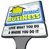 Haus basierte Geschäfts-Liebe, was Sie Unternehmer unterzeichnen Stockfotografie