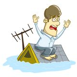 Haus überschwemmt unter Wasser Lizenzfreie Stockfotos