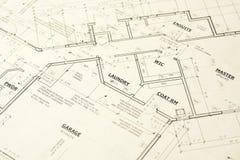 Haus Blueprints Pläne stockfoto