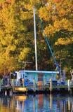 Haus-Boot von Farben Stockfotografie