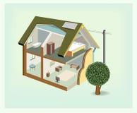 Haus-Cutawayikone des Vektors isometrische Lizenzfreies Stockbild