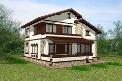 Haus 3D übertragen stock abbildung
