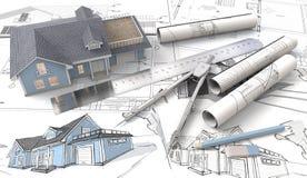 Haus 3D auf Design-Skizzen und Plänen Lizenzfreies Stockfoto