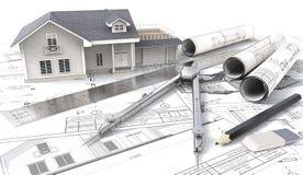 Haus 3D auf Design-Skizzen und Plänen Lizenzfreies Stockbild