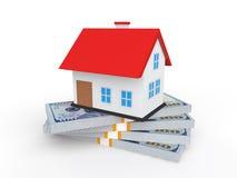 Haus 3d auf Geldstapeln Lizenzfreies Stockfoto