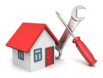 Haus 3d und Werkzeuge auf weißem Hintergrund Lizenzfreie Stockfotografie