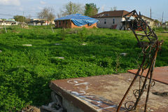 Haus Damanged im Hurrikan Katrina Stockbild