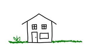 Haus, das gezeichnet wird stock video footage