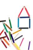 Haus der Farben-Bleistifte stockbild