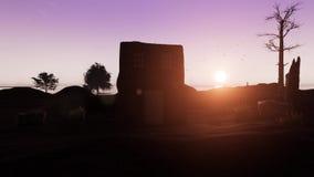 Haus in der Landschaft bei Sonnenuntergang