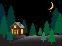 Haus in der schneebedeckten Nachtwaldgrußkarte vektor abbildung