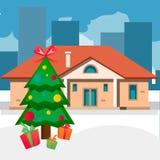 Haus der Weihnachtsbäume im Freien Stockfotos