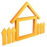 Haus des abstrakten Symbols mit Zaun Lizenzfreie Stockbilder