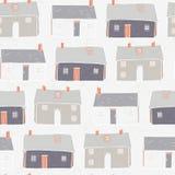 Haus-Dorf-Vektorweihnachtswiederholung Grey Background lizenzfreie abbildung