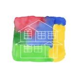 Haus-Entwurf auf Aquarell Lizenzfreie Stockbilder