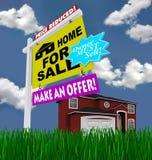 Haus für das Verkaufs-Zeichen - hoffnungslos zum Verkaufs-Haus lizenzfreie abbildung