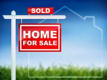 Haus für den Verkauf - verkauft Stockbilder