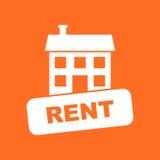 Haus für Miete Vector Illustration in der flachen Art auf Orangenrückseite Stockfotografie