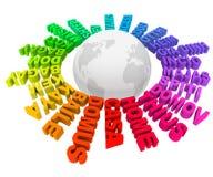 Haus fasst unterschiedliche Sprachkultur-Welt ab Stockbild