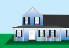 Haus flach mit Hintergrund lizenzfreie abbildung