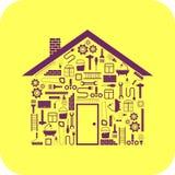 Haus in Form von zu reparieren den Werkzeugen Stockfoto