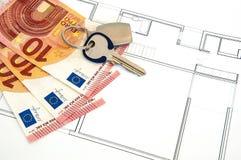Haus-Geld-Schlüssel Lizenzfreies Stockfoto