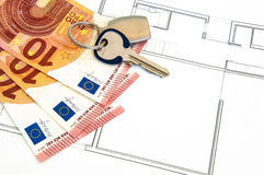 Haus-Geld-Schlüssel Lizenzfreie Stockfotografie