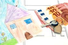 Haus-Geldanlage-abgehobener Betrag Stockfotos